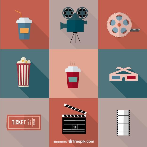 Icônes film cinéma de vecteur Vecteur gratuit