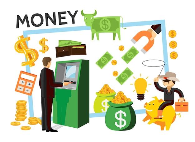 Icônes De Finance Plat Sertie D'homme D'affaires Près De Sac D'argent De Vache Dollar Atm De Portefeuille Magnétique De Pièces De Monnaie Vecteur gratuit
