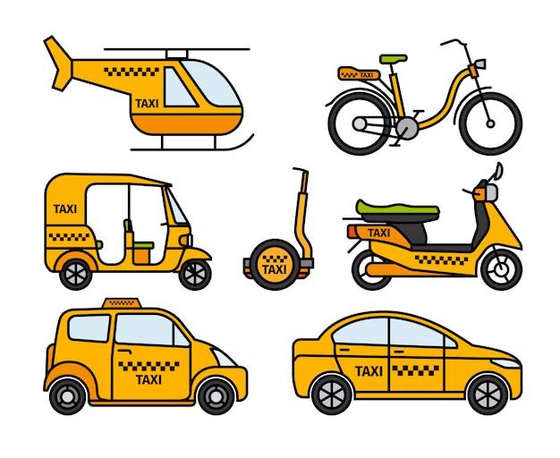 Icônes de fine ligne de taxi Vecteur Premium