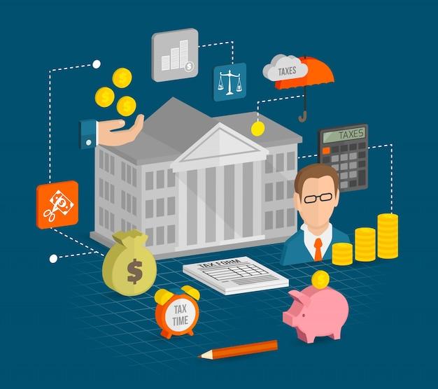 Icônes fiscales isométriques Vecteur gratuit