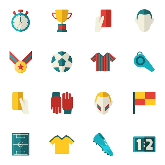 Icônes De Football à Plat Vecteur Premium