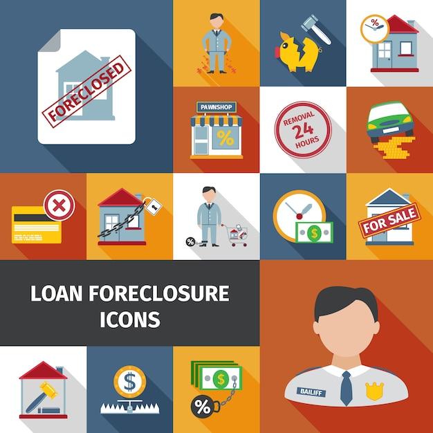 Icônes de forclusion de prêt Vecteur gratuit