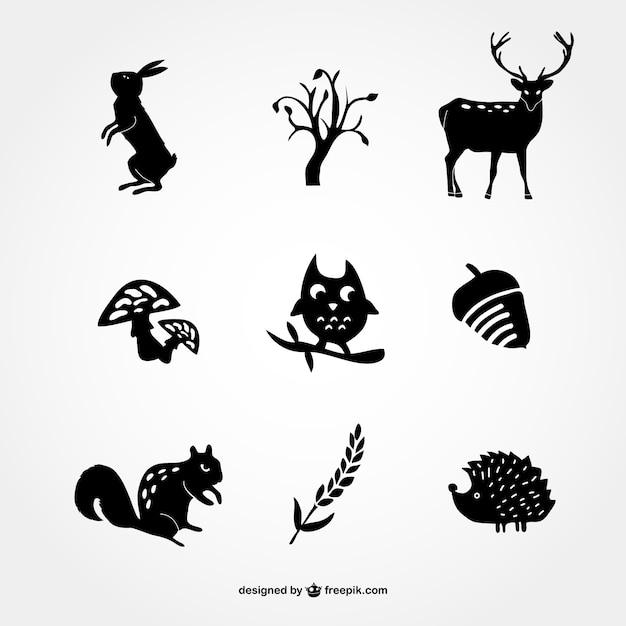 Icônes forêt silhouette Vecteur gratuit