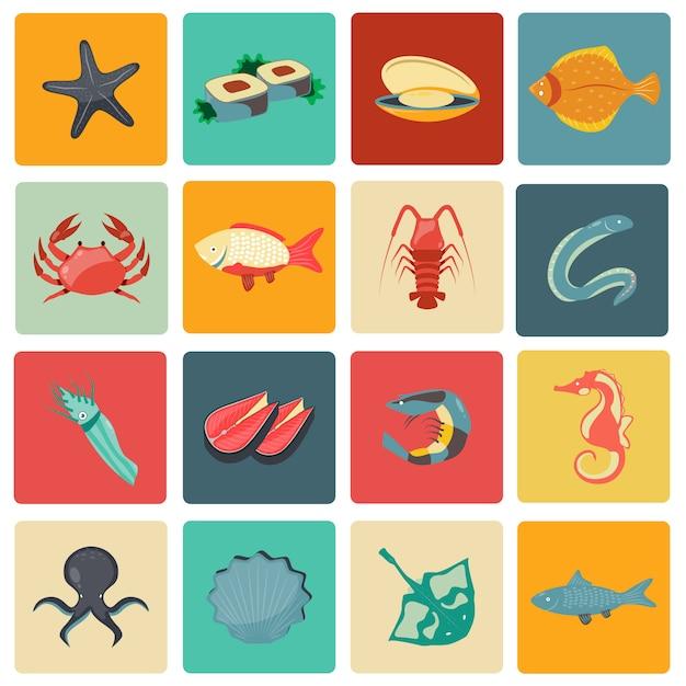Icônes de fruits de mer mis à plat Vecteur Premium