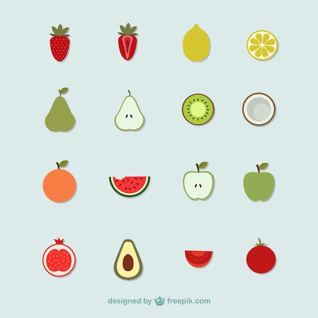 Icônes de fruits Vecteur gratuit