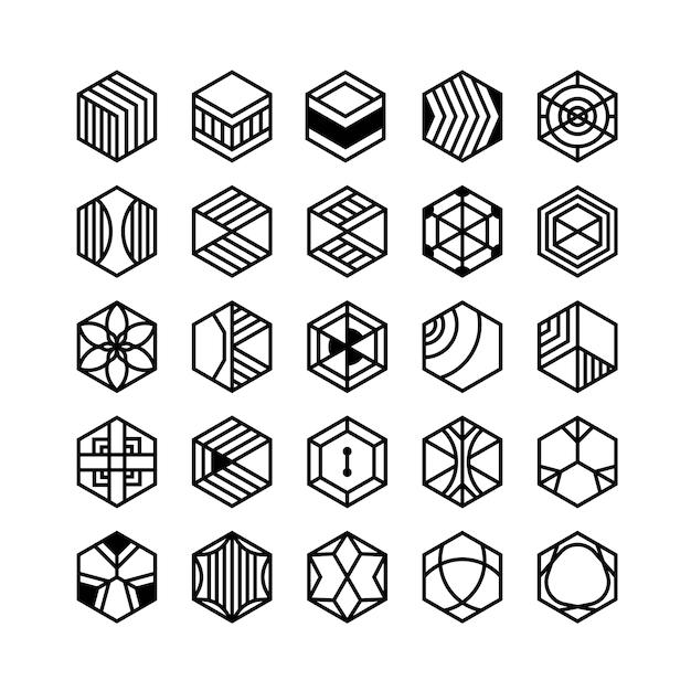 Icônes Géométriques Hexagone Vecteur Premium