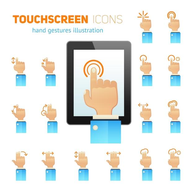 Icônes de gestes d'écran tactile Vecteur gratuit
