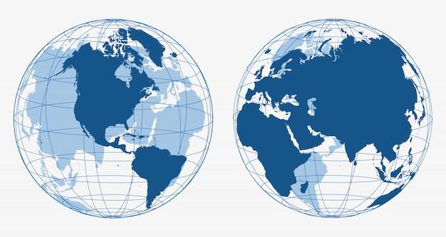 Icônes de globe terrestre 3d Vecteur Premium