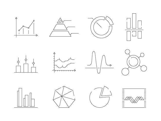 Icônes De Graphiques De Graphiques. Statistiques Commerciales Symboles Graphiques Vectoriels Isolés Vecteur Premium
