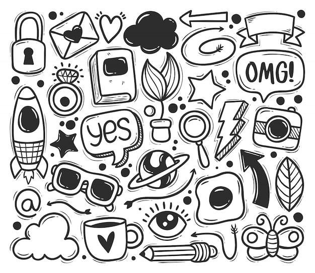 Icônes De Gribouillis Abstraits Dessinés à La Main à Colorier Doodle Vecteur gratuit