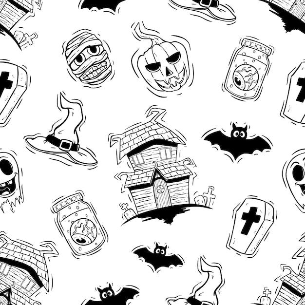 Icônes d'halloween scarry en modèle sans couture avec style dessiné à la main Vecteur Premium