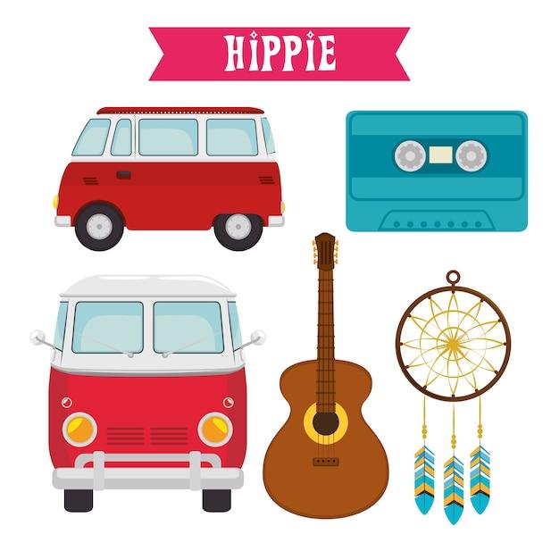 Icônes Hippie Colorées Vecteur Premium