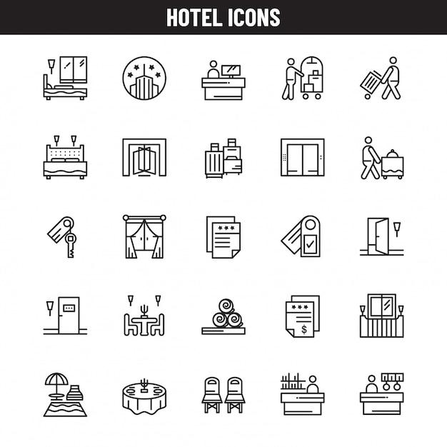 Icônes d'hôtel Vecteur Premium