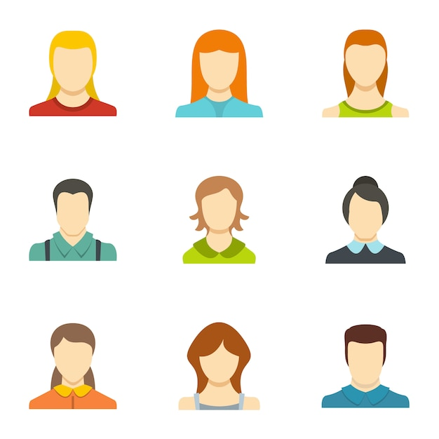 Icônes d'identité définies. ensemble plat de 9 icônes de vecteur d'identité Vecteur Premium