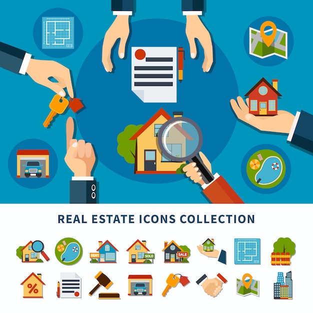Icônes de l'immobilier Vecteur gratuit