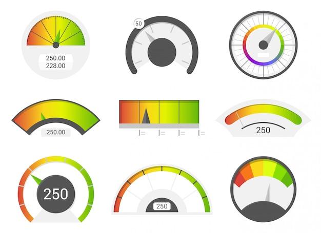 Icônes d'indicateur de vitesse Vecteur Premium