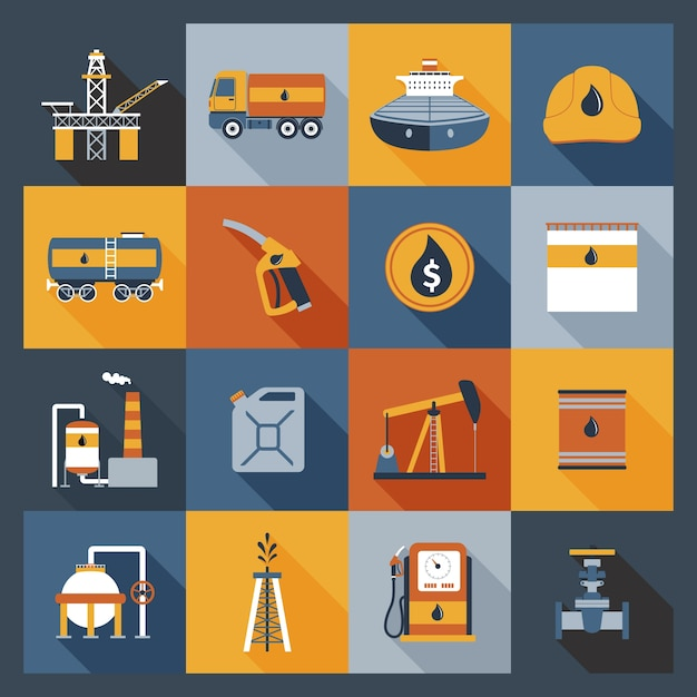 Icônes de l'industrie pétrolière Vecteur gratuit