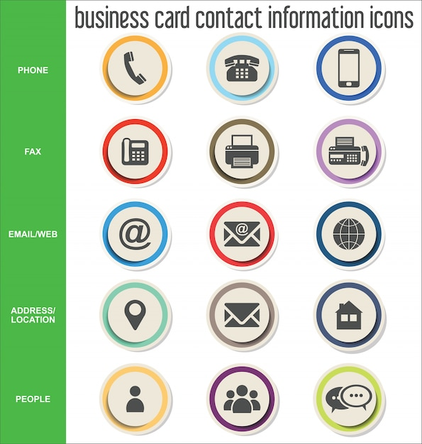 Icones Dinformations De Contact Carte Visite