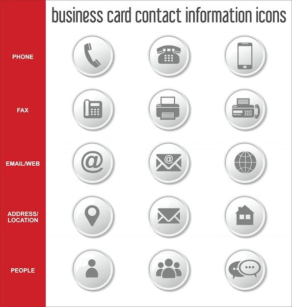 Icones Dinformations De Contact Carte Visite