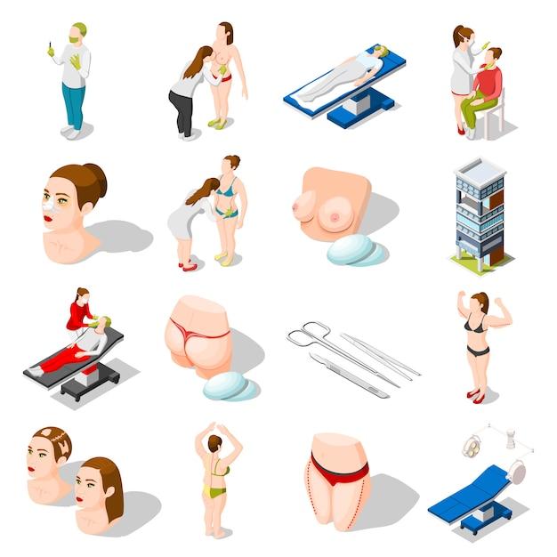 Icônes isométriques de chirurgie plastique Vecteur gratuit