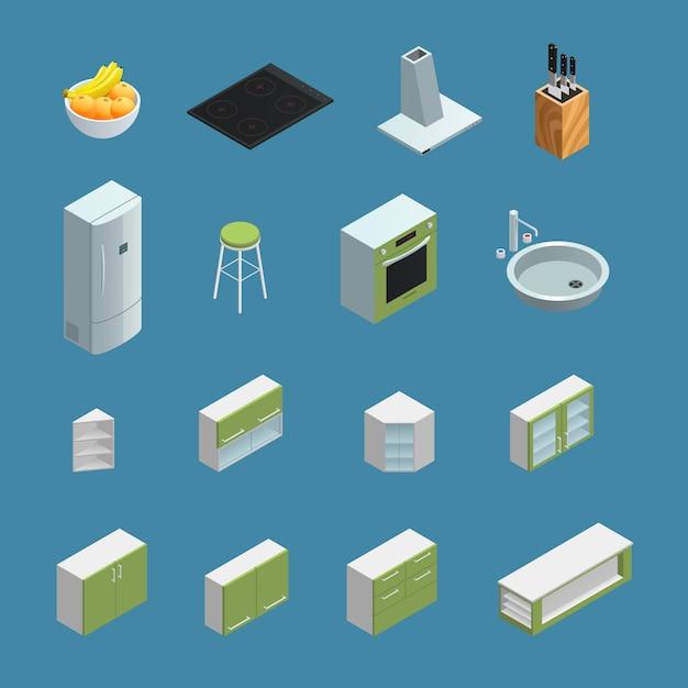 Icônes isométriques de couleur représentant des éléments de l'intérieur de la cuisine avec un fond bleu Vecteur gratuit