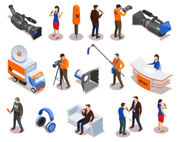 Icônes Isométriques De Diffusion Sertie De Journaliste Commentateur Journaliste Et De Personnes Participant à Un Talk-show Et à Une Illustration Vectorielle D'entrevue Vecteur gratuit