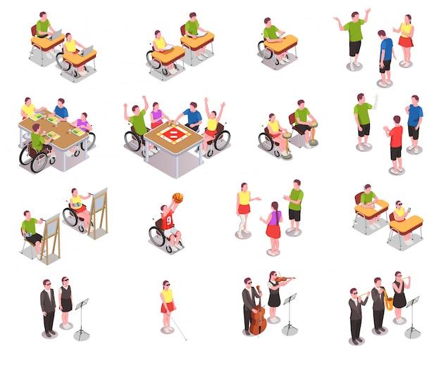 Icônes Isométriques De L'éducation Inclusive Avec Des Personnes Handicapées Dans Différentes Situations à L'école Isolé Sur Blanc 3d Vecteur gratuit