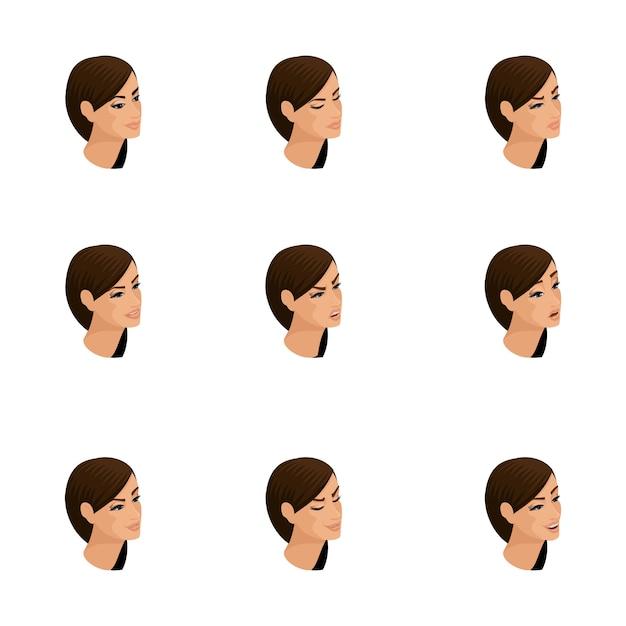 Icônes Isométriques Des émotions De La Femme, Cheveux Tête, Visages, Yeux, Lèvres, Nez. Expression Faciale. Isométrie Qualitative Des Personnes Pour Les Illustrations Vecteur Premium
