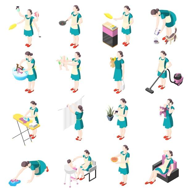 Icônes Isométriques De Femme Au Foyer Torturée Avec Des Femmes Impliquées Dans Le Lavage De La Cuisine, Le Nettoyage, Le Repassage, Le Jardinage, La Vaisselle, Le Babysitting Vecteur gratuit