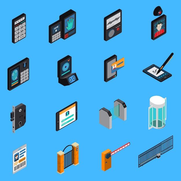 Icônes Isométriques D'identification D'accès Vecteur gratuit