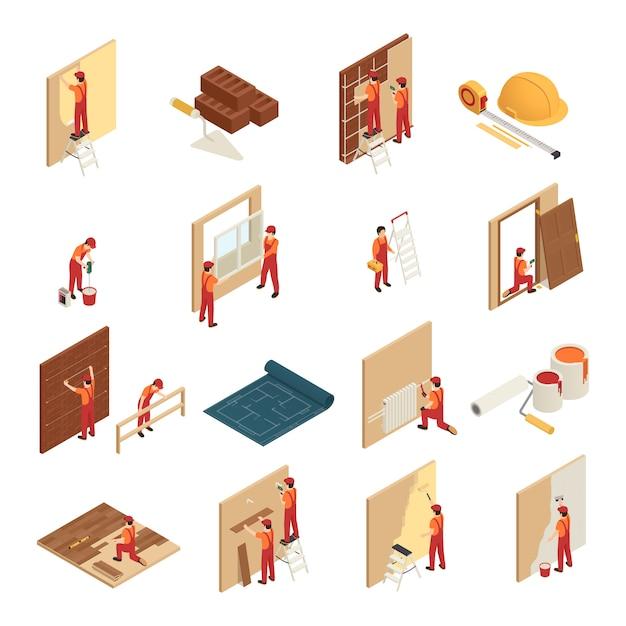 Icônes Isométriques De Rénovation Domiciliaire Vecteur gratuit