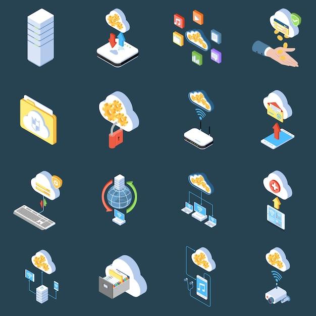 Icônes Isométriques De La Technologie Cloud De Protection Du Stockage Et De Synchronisation Des Données Sur Sombre Isolé Vecteur gratuit