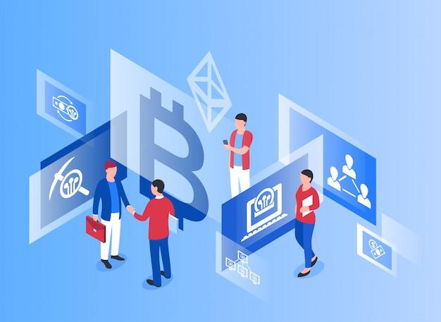 Icônes isométriques de technologie de crypto-monnaie bitcoin Vecteur Premium