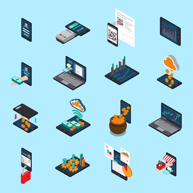 Icônes Isométriques De Technologie Financière Vecteur gratuit