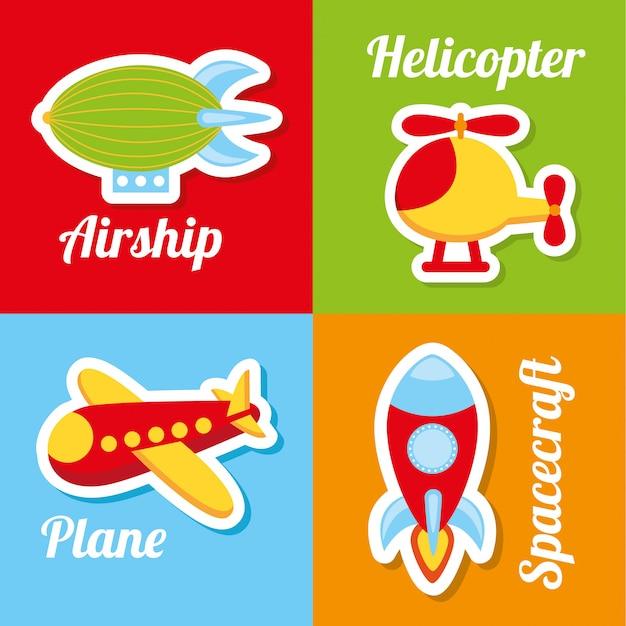 Icônes de jouets au cours de l'illustration vectorielle fond coloré Vecteur Premium