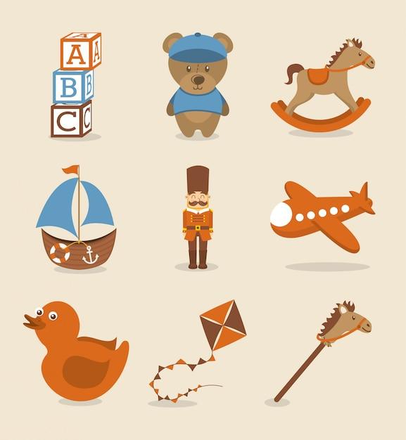 Icônes de jouets au cours de l'illustration vectorielle fond rose Vecteur Premium