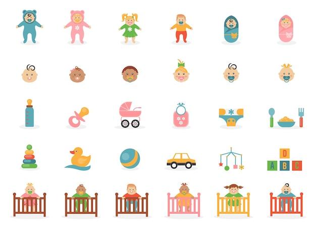 Icônes De Jouets Bébés Sur Un Thème Des Bébés Et De Leurs Accessoires. Vecteur gratuit