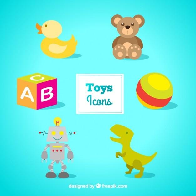 Icônes de jouets colorés Vecteur gratuit