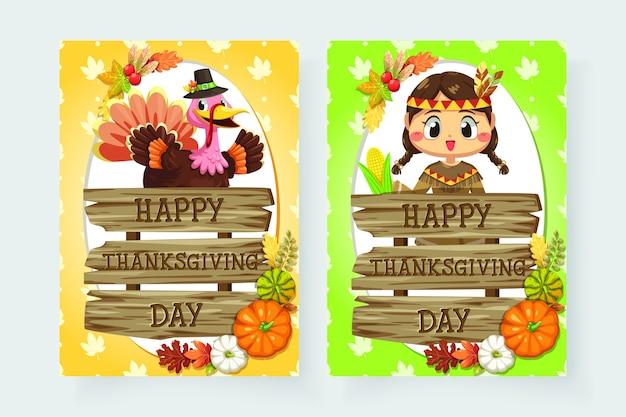 Icônes De Joyeux Thanksgiving Day Avec Des Filles Et Des Signes En Bois Divers. Vecteur gratuit
