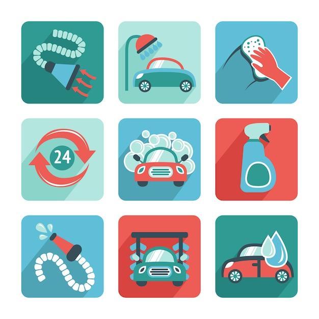 Icônes de lavage de voiture plat Vecteur gratuit
