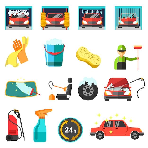 Icônes de lavage de voiture vector plate. Vecteur Premium