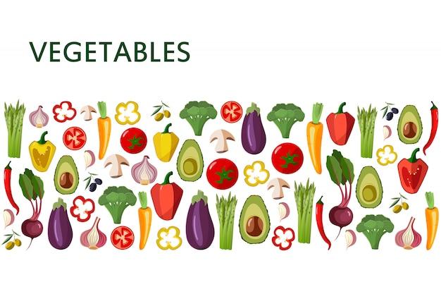 Icônes de légumes mis en style cartoon sur blanc Vecteur Premium