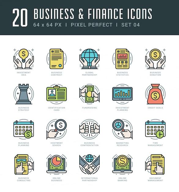 Icônes de ligne définies concept d'affaires et des finances vectorielles tendance moderne plat mince linéaire tendance. Vecteur Premium