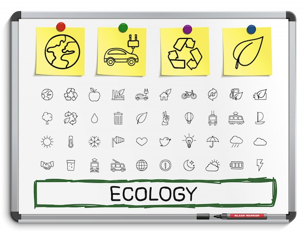 Icônes De Ligne Dessin Main écologie. Ensemble De Pictogrammes De Doodle. Illustration De Signe De Croquis Sur Tableau Blanc Avec Des Autocollants En Papier. énergie, écologique, Environnement, Arbre, Vert, Recycler, Bio, Propre Vecteur Premium