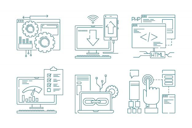 Icônes de ligne de développement web. seo mobile layout web design code de processus créatif site web et application pour smartphones photos Vecteur Premium