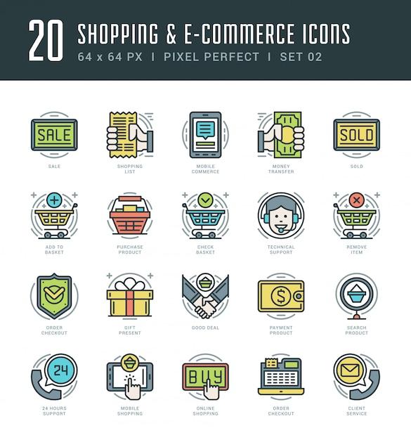 Icônes de ligne plate définie shopping vector mince course linéaire Vecteur Premium