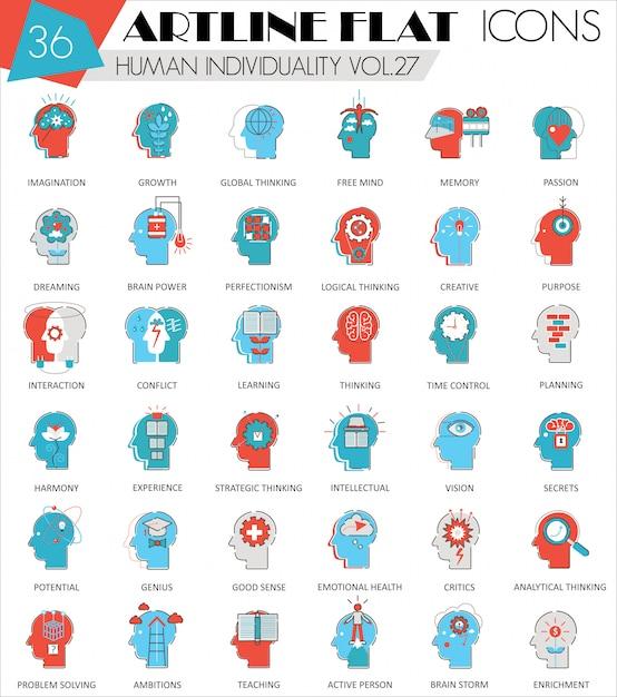 Icônes De Ligne Plate De Mentalité Humaine Personnalité Individualité Vecteur Premium