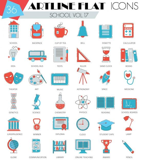 Icônes de ligne plate school university college Vecteur Premium