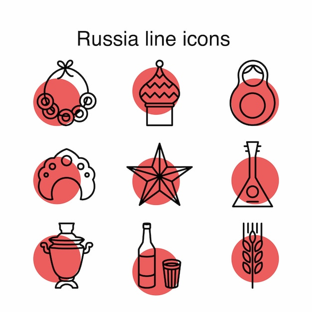 Icônes de ligne russes Vecteur gratuit