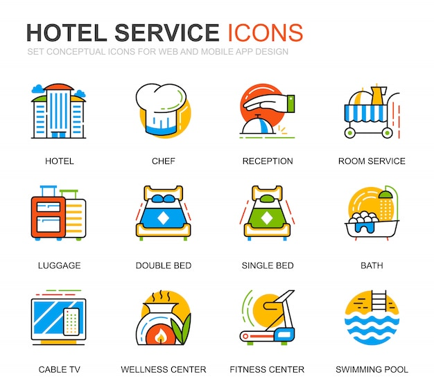 Icônes de ligne de services hôteliers simples pour le site web Vecteur Premium